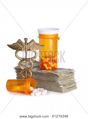 Costly healthcare concept, caduceus, money and pills cut out on white background