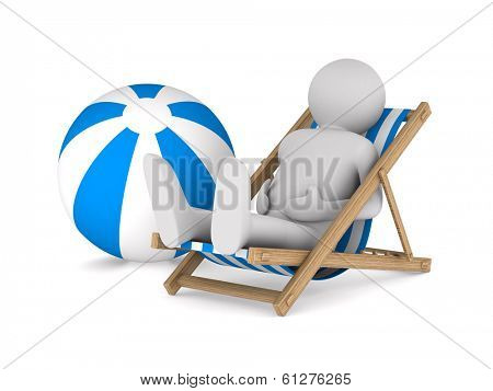 Man on deckchair and ball on white background. Isolated 3D image
