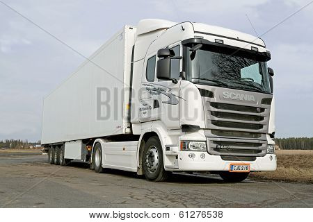 White Scania R440 Truck At Spring