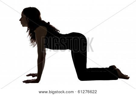 Woman Doing Cow Pose In Yoga, Silhouette.