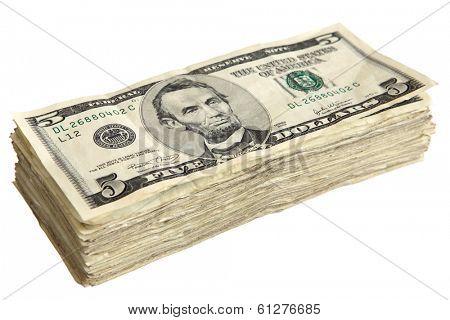 Stack of 5 Dollar Bills