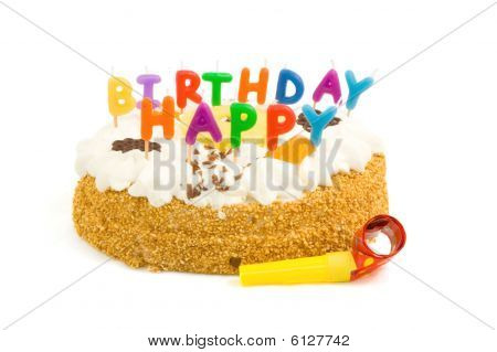 Colorful Birthdaycake With Cream With Happy Birthday Candles On White