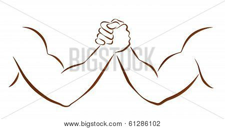 Outline illustration of two muscular arms that are wrestling. poster