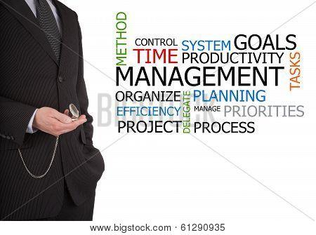 Businessman Next To Time Management Word Cloud