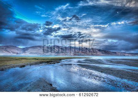 High dynamic range image (HDR) of Himalayan mountain lake in Himalayas Tso Moriri, Korzok,  Changthang area, Ladakh, Jammu and Kashmir, India