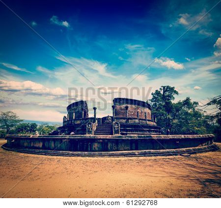 Vintage retro hipster style travel image of ancient Vatadage (Buddhist stupa) in Pollonnaruwa, Sri Lanka