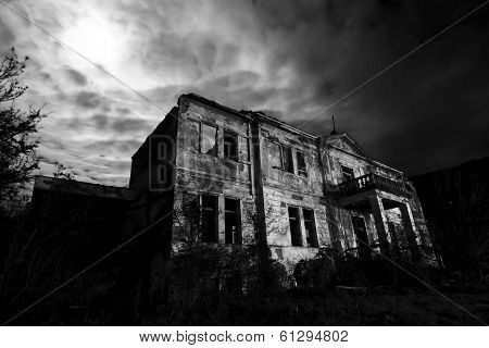 Horror scene of a old rustic hotel