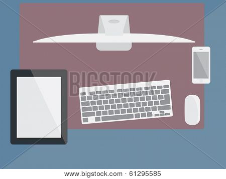 Flat design stylish vector illustration of modern business workspace in the office
