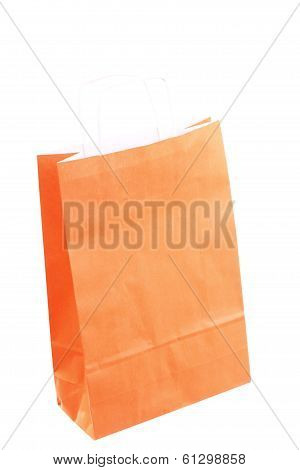 Shopping Orange Gift Bags And Apple Isolated
