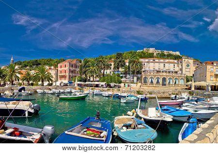Island of Hvar waterfront view in Dalmatia Croatia poster