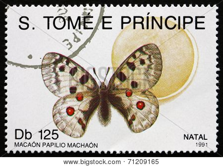 Postage Stamp Sao Tome And Principe 1991 Macaon Papilio Machaon