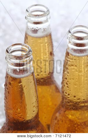 Close Up Of Three Beer Bottles