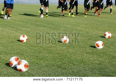 Europa League Balls During The Training Of Paok In Thessaloniki, Greece.