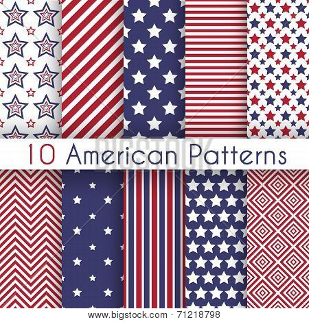 Patriotic red, white and blue geometric seamless patterns
