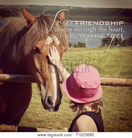 instagram of young girl petting horse in a field with inspirational quote poster
