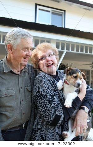Elderly Couple With Dog