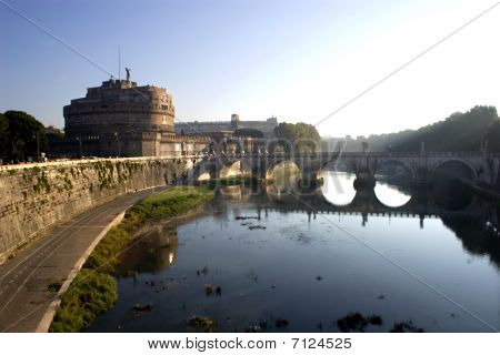 Rome - Angels castle and bridge in morning