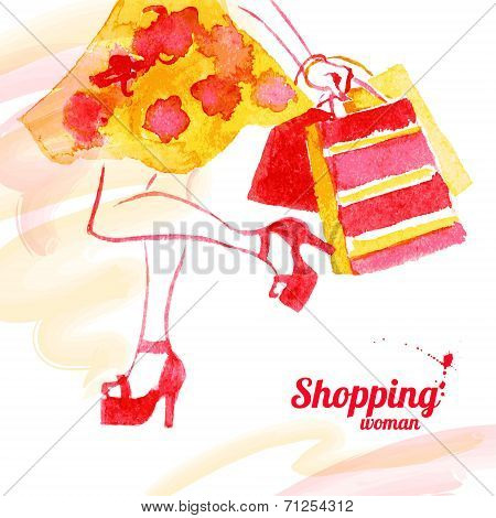 Watercolor shopping women design