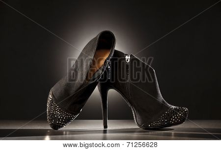 Elegant Ladies Boots On A Black Background