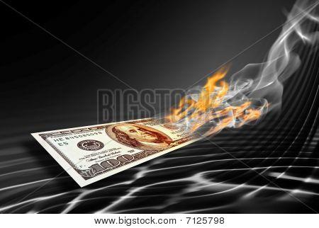 Burning One Hundred Dollars Banknote
