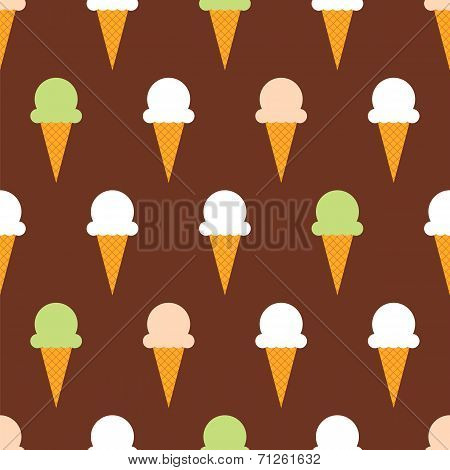Ice cream cones seamless pattern background. Ice cream seamless pattern poster