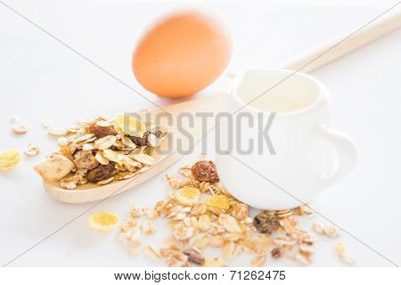 Nutrition Ingredient Of Muesli Milk And Egg