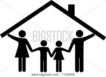 House Family Parents And Children Under Home Roof