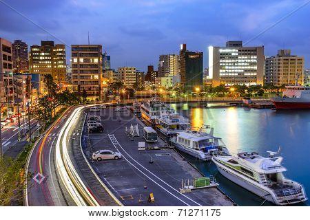 Naha, Okinawa, Japan cityscape at the bay.