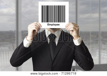 Businessman Hiding Face Behind Sign Barcode Employee