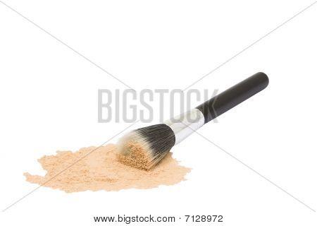 Round Black Make-up Brush With Powder