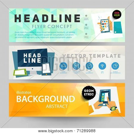 Set of Flyer, Brochure Design Templates. Geometric Triangular Abstract Modern Backgrounds. Mobile Technologies, Applications and Online Services Concept.