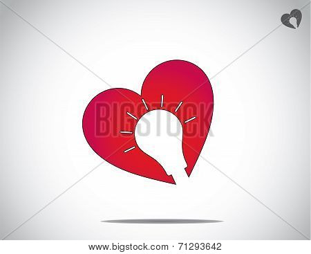 Red Heart With Glowing Light Bulb Shaped Groove Personal Career Development Concept Art