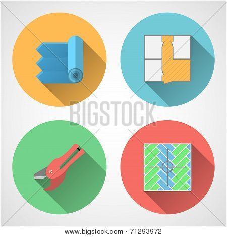 Flat vector icons for linoleum flooring service