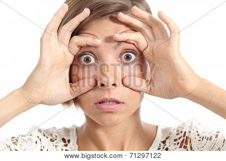 Crazy Teenager Girl Tired Trying To Open Eyes With Fingers