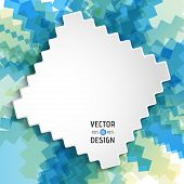 Abstract White Text Design Box on Blue Zigzag Line Pattern. Vector Background poster