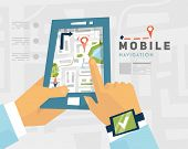 Mobile Navigation. GPS Technology. Mobile Phone with Map. poster