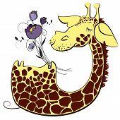 Cute giraffe cartoon character with bunch of flowers poster