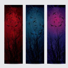 Halloween vertical banners set