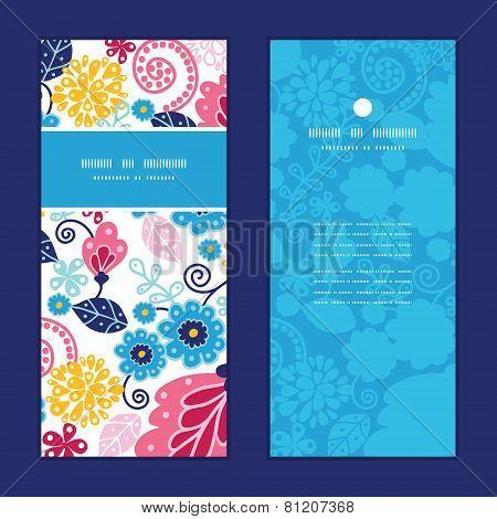 Vector fairytale flowers vertical frame pattern invitation greeting cards set