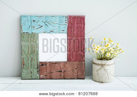 Colored Red, Gree, Blue Frame With Place For Text  Chamomile In Diy Concrete Pot.