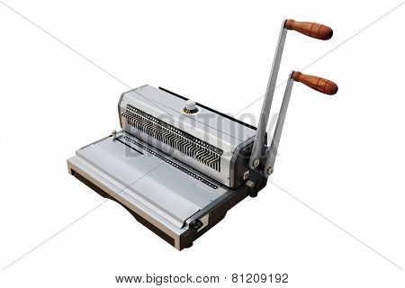 The image of a bookbinding machine. Stitcher