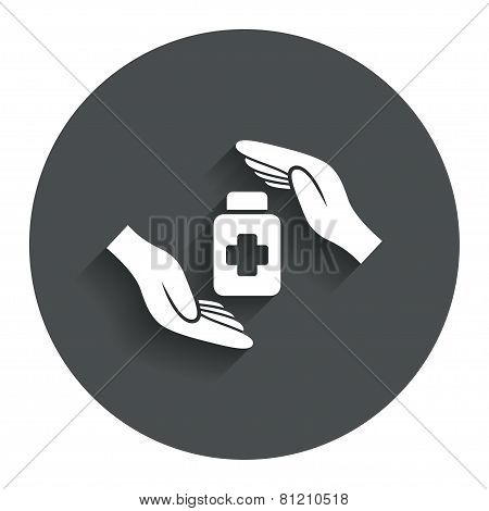 Medical insurance sign icon. Health insurance symbol. Drugs or pills bottle. Gray flat button with shadow. Modern UI website navigation. Vector poster