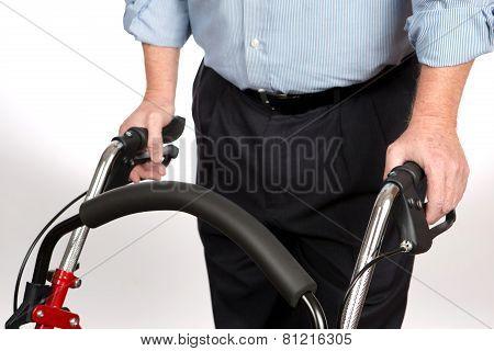 Disabled Man Using Walker