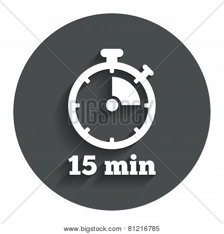Timer sign icon. 15 minutes stopwatch symbol.