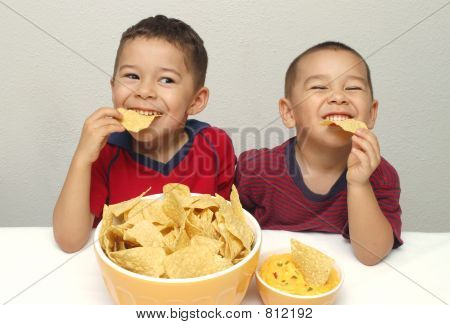 Boys Eating Chips