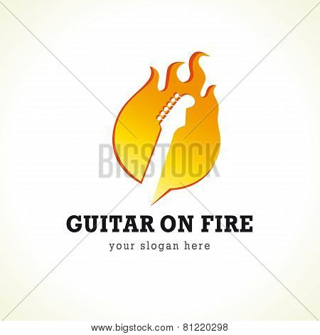 Rock concert vector logo. Guitar on fire. Rock band symbol. Electric guitar fretboard in flame. Art events and tours symbol. poster