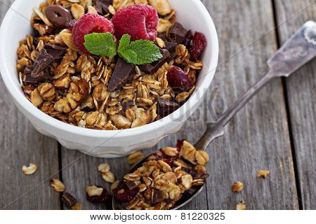 Chocolate granola for breakfast