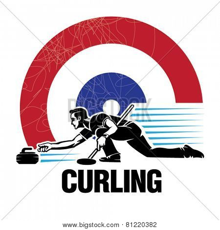 Curling sport. Vector illustration in the engraving style