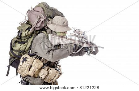 Jagdkommando soldier Austrian special forces equipped with Steyr assault rifle poster