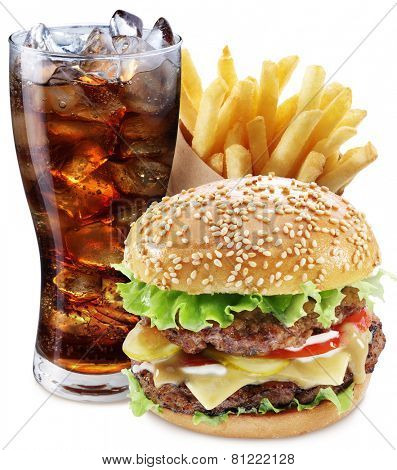 Hamburger, potato fries, cola drink. Takeaway food. File contains clipping paths. poster